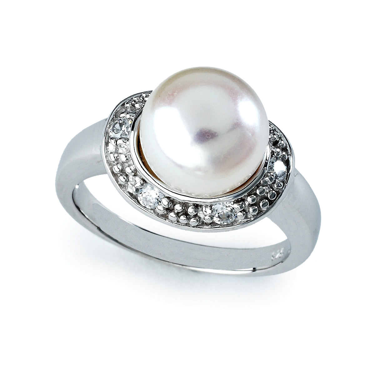 Natural Pearl Ring In platinum