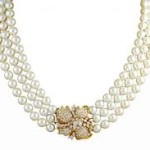 Pearl moti gemstone necklace